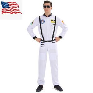ASTRONAUT JUMPSUIT COSTUME NASA WHITE SHUTTLE SHIP MOON SPACE SUIT ADULT MENS