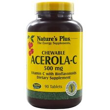 Nature's Plus, Chewable Acerola-C, Vitamin C with Bioflavonoids, 500 mg, 90 Tabl