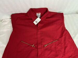 WALLS Master Made Coveralls Mens 64 Tall Red LS Shop Work Wear Zipper Front