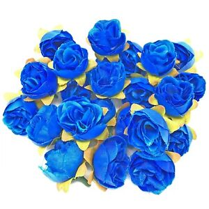 Royal Blue Rose Bud Decorative Synthetic Flowers (Faux Silk) - UK SELLER