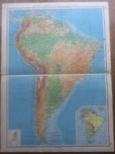 1942 Vintage John Bartholomew Atlas Map South America Physical Features 20""