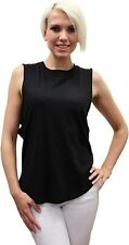 LAmade 171125 Womens Venice Cotton Sleeveless Muscle Tank Top Black Size Medium