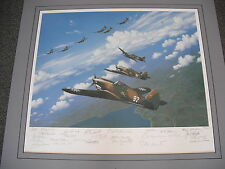 """LARGE """"FLYING TIGERS"""" ART PRINT BY STAN STOKES SIGNED BY 25 MEMBERS OF THE AVG!"""