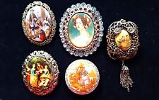 Antique Oval Painted Colonial Couple Broach Pin (5)