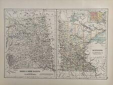 1897 NORTH & SOUTH DAKOTA & MINNESOTA ANTIQUE MAP A & C BLACK 123 YEARS OLD