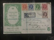 1954 Salisbury Rhodesia First Day Registered FDC Cover to USA Complete Set