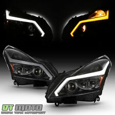 Black Headlights w/ LED Sequential Signal Switchback DRL For 2010-2013 G37 Sedan