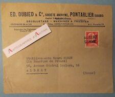 PONTARLIER Doubs E. DUBIED décolletage Machines à tricoter cachet postal ALBERT