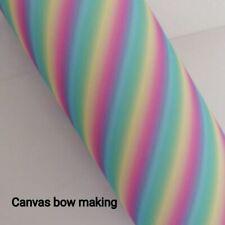 rainbow pastel stripes HAIR BOW MAKING A4 SHEET PRINTED CANVAS FABRIC MATERIAL