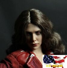 1/6 female Head Sculpt Scarlet Witch Red eye brown hair for hot toys kumik ❶USA❶