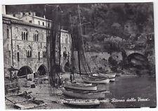 0042 GENOVA CAMOGLI - SAN FRUTTUOSO - PESCA BARCHE RETI Cartolina FOT. viag 1955
