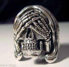 See No Evil Sterling Silver .925  Death Skull biker Ring RG0051/S