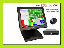 Starter POS 12 Touch Screen EPOS System Cash Till Bar Restaurant Retail