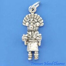 NATIVE AMERICAN MORNING SUN SINGER KACHINA DOLL 3D .925 Sterling Silver Charm