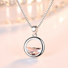 Circle Lake Pendant 925 Sterling Silver Chain Necklace Womens Girls Jewellery UK