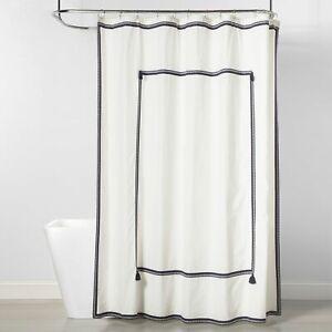 Frame Border Shower Curtain Navy/White - Threshold