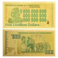 Zimbabwe 5 Octillion Gold Banknote Reserve Bank Zimbabwe 100 Trillion Series