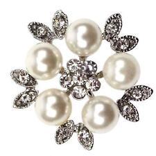 GRACE Diamante Silver Shoe Clips Pearl Crystal Flower Leaves Bridal Rhinestone