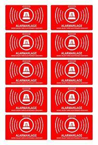 10 Stück Aufkleber Alarmgesichert, Alarm 5 x 3 cm, innenklebend, 047_10er_innen