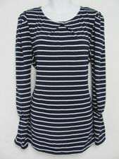 New Umgee Womens Tunic Top Striped Stretch Puffed Long Sleeved SIze L