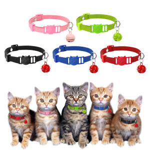 5pcs/lot Cat Breakaway Collars with Bell Quick Release Safety Buckle for Kitten