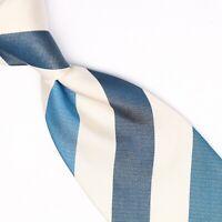 Gladson Mens Silk Necktie Dark Green White Block Stripe Weave Woven Tie Italy