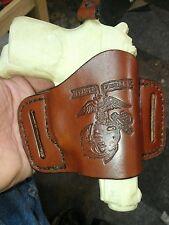Handmade, hand sewn leather minimal holster made for BERSA THUNDER MARINE CORPS