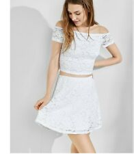 NWT WOMENS EXPRESS WHITE ONE ELEVEN LACE ABBREVIATED TEE TOP SIZE SMALL