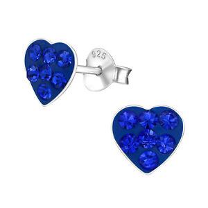 925 Sterling Silver Blue Crystal Heart Stud Earrings
