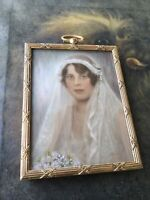 ANTIQUE ART DECO MINIATURE BRIDE PAINTING ON BONE SIGNED REICK 1920 STUNNING