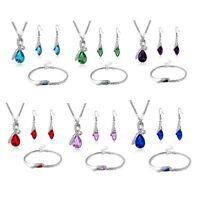 1 Set Bridal Cubic Zirconia Necklace+Hook Earrings+Bracelet Wedding Jewelry Gift