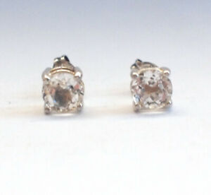 Stunning 925 Sterling Silver Clear CZ Stud Ear Rings Butterfly Back Bling Ice 2g