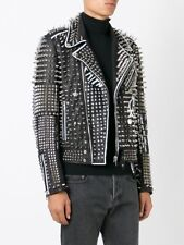 Men Silver Studded Leather Jacket Handmade Black White Contrast Long Spikes