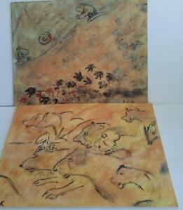 2 Caveman Humor Paintings Drawings Art 11x14 Signed
