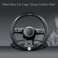 "38CM 15"" Glossy Carbon Fiber+Leather Steering Wheel Cover w/ Metal Logo For BMW"