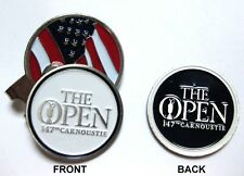 2018 BRITISH OPEN CARMOUSTIE, 2-SIDED, WHITE/NAVY Ball Marker & US FLAG HAT CLIP
