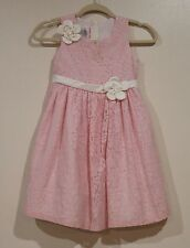 EUC Jessica Ann Girls Spring Pink Floral With off White Flowers Dress Size 6X