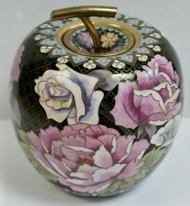 "Beautiful Chinese Cloisonne Apple Shaped Lidded Jar, Flowers & Butterflies, 5"""
