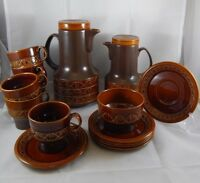John Beswick Brown Zorba Tea Coffee Pot Set Cups Saucers Mid-Century England