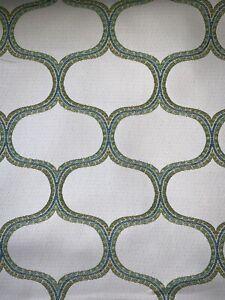 Waterproof Printed INDOOROUTDOOR Elton Turquoise Fabric  54 Wide  Sold By The Yard