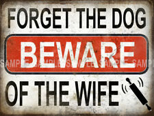 BEWARE OF THE WIFE FUNNY METAL SIGN HOME DECOR; MANCAVE GREAT CHRISTMAS GIFT