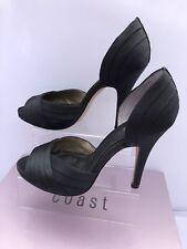 COAST Size UK 4 37 Black Satin Open Side Party High Heels Shoes USA 6 Peep Toe