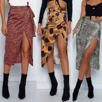 Women Sexy Leopard High Waist Irregular Split Bandage Pencil Party Club Skirt