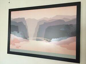 Jeff Kahn - 91x61cm frame - stenciled landscape poster, classic 80's wall art