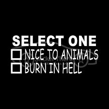 Be Nice To Animals Sticker Love Puppy Kitten Cat Dog Adopt Rescue Kind Love Hell
