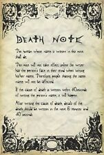 24x36 Death Note Rules Poster shrink wrapped