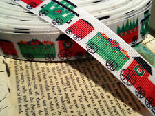 "!"" Christmas CHOO- CHo0 TRAIN Themed Grosgrain sold by the yard"