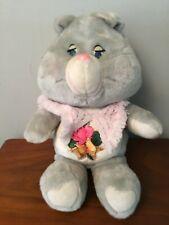 "Vintage 1983 Care Bear Grams Grandma 15"" with Pink Shawl & Heart Gray Plush"