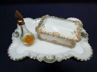 Antique Dresser Set Tray Perfume White Glass Gold Jewelry Box Porcelain Rare OLD