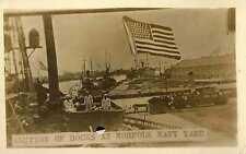 1910 PORTSMOUTH VA Norfolk Navy Yard Docks Boats Sailors RPPC REAL PHOTO postcrd